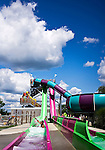 Middlebury, CT- 09 August 2015-080915CM04- Isaiah Wilkins, 11, of Germantown, MD slides down the Speed Slide at Lake Quassapaug Amusement Park in Middlebury on Sunday.  The park was crowded, with folks taking advantage of the warm weather by swimming in the lake and visiting the Splash Away Water Park.       Christopher Massa Republican-American