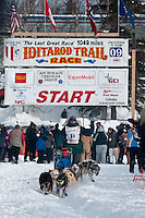 Musher # 68 Jeff Holt at the Restart of the 2009 Iditarod in Willow Alaska