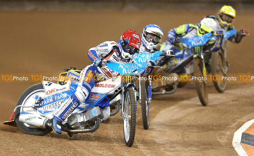 Heat 1: Nicki Pedersen (red), Jason Doyle (blue), Krzysztof Kasprzak (white) and Chris Harris (yellow) - British Speedway Grand Prix at the Millennium Stadium, Cardiff - 04/07/15 - MANDATORY CREDIT: Rob Newell/TGSPHOTO - Self billing applies where appropriate - 0845 094 6026 - contact@tgsphoto.co.uk - NO UNPAID USE