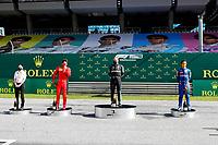 5th July 2020; Red Bull Ring, Spielberg Austria; F1 Grand Prix of Austria, Race Day;  16 Charles Leclerc MCO, Scuderia Ferrari Mission Winnow, winner 77 Valtteri Bottas FIN, Mercedes-AMG Petronas Formula One Team and  4 Lando Norris GBR, McLaren F1 Team celebrate on the winners podium