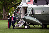 United States President Donald Trump exits Marine One after arriving at the White House on May 5, 2018 in Washington, DC. President Trump traveled to Cleveland, Ohio to speak at Public Hall ahead of state primary elections.<br /> Credit: Zach Gibson / Pool via CNP