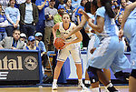 06 February 2012: Duke's Tricia Liston holds the ball. The Duke University Blue Devils defeated the University of North Carolina Tar Heels 96-56 at Cameron Indoor Stadium in Durham, North Carolina in an NCAA Division I Women's basketball game.