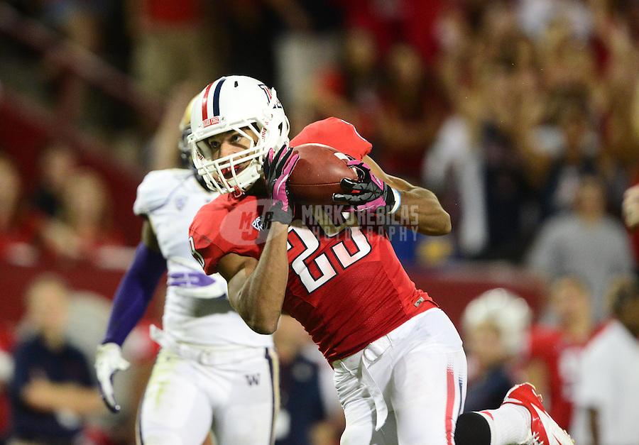 Oct. 20, 2012; Tempe, AZ, USA; Arizona Wildcats wide receiver (29) Austin Hill catches a second quarter touchdown pass against the Washington Huskies at Arizona Stadium. Mandatory Credit: Mark J. Rebilas-