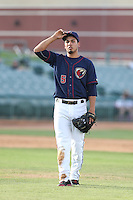 Rio Ruiz #5 of the Lancaster JetHawks during a playoff game against the Inland Empire 66ers at The Hanger on September 7, 2014 in Lancaster, California. Lancaster defeated Inland Empire, 5-2. (Larry Goren/Four Seam Images)
