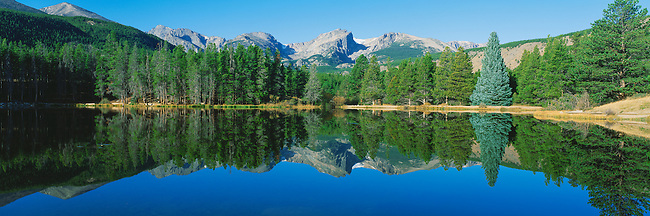 summer morning reflection at Sprague Lake in Rocky Mountain National Park, Colorado, USA
