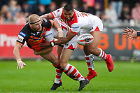 Picture by Alex Whitehead/SWpix.com - 12/05/2018 - Rugby League - Ladbrokes Challenge Cup - Castleford Tigers v St Helens - Mend-A-Hose Jungle, Castleford, England - Castleford's Oliver Holmes is tackled by St Helens' Danny Richardson and Dominique Peyroux.