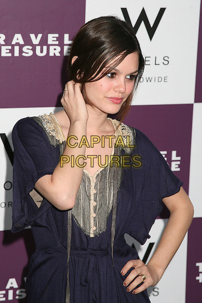 RACHEL BILSON.Travel + Leisure Magazine's 35th Birthday Party at W Hotel, Westwood, California, USA..April 19th, 2006.Photo: Byron Purvis/AdMedia/Capital Pictures.Ref: BP/ADM.half length hand blue purple.www.capitalpictures.com.sales@capitalpictures.com.© Capital Pictures.