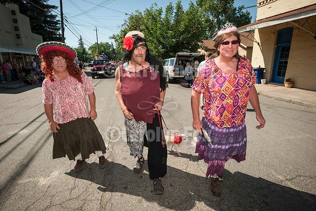 137th annual Ione Homecoming Parade, Rancheros and Sombreros theme, downtown Main St., Ione, Calif....Dan Bonham, nephew Chuck Bonham, cousin Mike Clark
