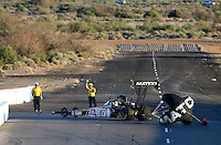 Feb. 22, 2013; Chandler, AZ, USA; NHRA top fuel dragster driver Antron Brown during qualifying for the Arizona Nationals at Firebird International Raceway. Mandatory Credit: Mark J. Rebilas-