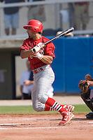 Alex Castellanos (5) of the Johnson City Cardinals follows through on his swing at Dan Daniels Park in Danville, VA, Sunday July 27, 2008.