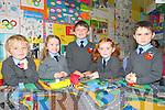 Lenamore NS : First day pupils at Lenamore NS, Ballylongford. L - R : Nick Green, Karen Uljee, Logan O'Sullivan, Hannah Scarlett & Liam Hanrahan.