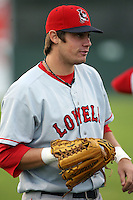 September 10 2008:  Kade Keowen of the Lowell Spinners, Class-A affiliate of the Boston Red Sox, during a game at Dwyer Stadium in Batavia, NY.  Photo by:  Mike Janes/Four Seam Images