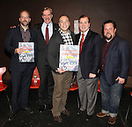 Author Robert Simonson, Actors' Equity Association President Nick Wyman, Danny Burstein, Lee Roy Reams, & Illustrator Justin 'Squigs' Robertson  attending the panel & book signing for 'Performance of the Century: 100 Years of Actors' Equity Association and the Rise of Professional Theater in America' published by Applause Books at the  Drama Book Shop, New York on December 14, 2012