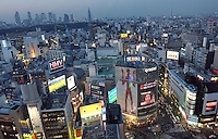Video screens advertise in Shibuya district, Tokyo..Mar 2002