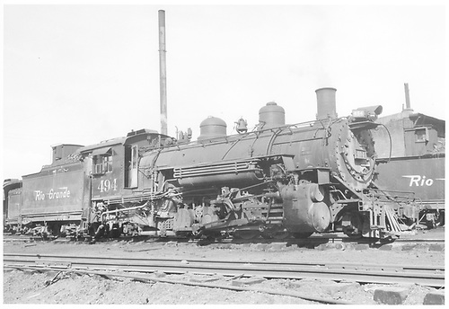Engineer side of D&amp;RGW #494 K-37 in Durango.<br /> D&amp;RGW  Durango, CO  Taken by Payne, Andy M. - 2/22/1958