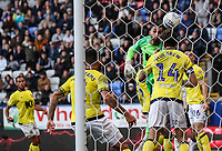 Blackburn Rovers' Charlie Mulgrew heads clear off of the goal line as goalkeeper David Raya looks on<br /> <br /> Photographer Andrew Kearns/CameraSport<br /> <br /> The EFL Sky Bet Championship - Bolton Wanderers v Blackburn Rovers - Saturday 6th October 2018 - University of Bolton Stadium - Bolton<br /> <br /> World Copyright © 2018 CameraSport. All rights reserved. 43 Linden Ave. Countesthorpe. Leicester. England. LE8 5PG - Tel: +44 (0) 116 277 4147 - admin@camerasport.com - www.camerasport.com