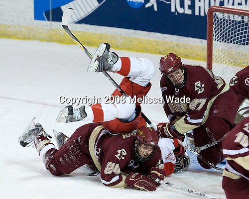 Matt Lombardi (BC - 24), Justin Vaive (Miami - 27), Andrew Orpik (BC - 27) - The Boston College Eagles defeated the Miami University RedHawks 4-3 in overtime on Sunday, March 30, 2008 in the NCAA Northeast Regional Final at the DCU Center in Worcester, Massachusetts.