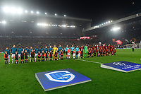 LIVERPOOL, GREAT BRITAN - NOVEMBER 5 : the teams line up during the UEFA Champions League match between Liverpool FC and KRC Genk on November 05, 2019 in Liverpool, Great Britan, 5/11/2019 <br /> Liverpool 5-11-2019 Anfield <br /> Liverpool - Genk <br /> Champions League 2019/2020<br /> Foto Photonews / Panoramic / Insidefoto <br /> Italy Only