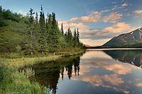 Alpine lake at sunset, Alaska