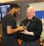 Grasan Kingsberry and David Westphal during the ceremony as The chorus of Broadway's Once on This Island receives the twelfth annual Advisory Committee on Chorus Affairs (ACCA) Award for Outstanding Broadway Chorus from Actors' Equity at the Actors' Equity Offices on June 19, 2018 in New York City.