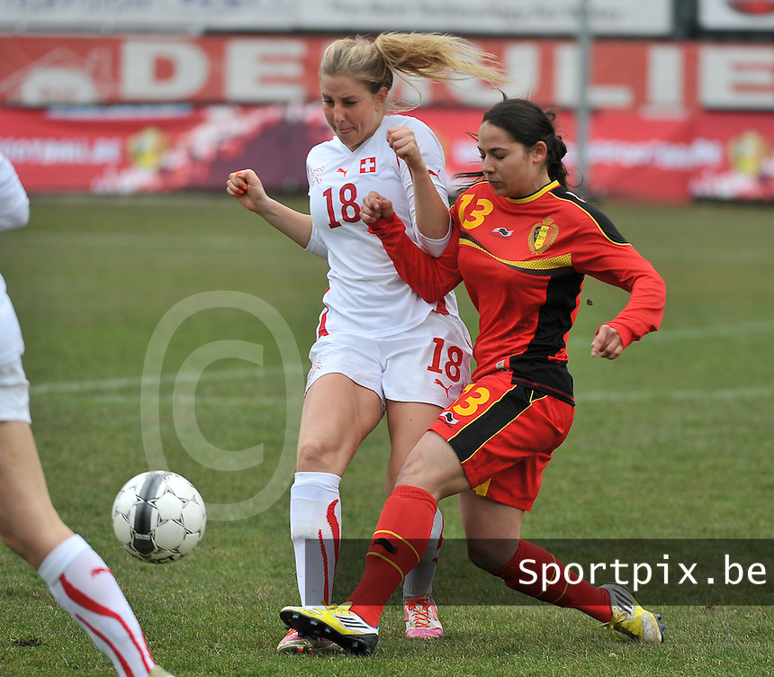 Belgium U19 - Switzerland U19 : duel tussen Audrey Wuichet (links) en Lola Wajnblum.foto DAVID CATRY / Nikonpro.be