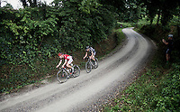 Hugo Hofstetter (FRA/Cofidis) & Dries De Bondt (BEL/Verandas Willems) over the gravel<br /> <br /> 1st Dwars door het Hageland 2016<br /> (pics by Léon Van Bon)
