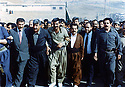 Iraq 1997 .Kosrat Rasul, 1st right with Saadi Pira 2nd right, and members of PUK making a demonstration in Koysanjak .Irak 1997 .Kosrat Rasul, 1er a droite, Saadi Pira, 2eme a droite et les membres de l'UPK au cours d'une manifestation a Koysanjak