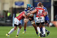 Zach Mercer of Bath Rugby takes on the Gloucester Rugby defence. Gallagher Premiership match, between Bath Rugby and Gloucester Rugby on September 8, 2018 at the Recreation Ground in Bath, England. Photo by: Patrick Khachfe / Onside Images