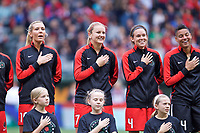 Portland, OR - Saturday June 17, 2017: Allie Long, Lindsey Horan, Emily Menges during a regular season National Women's Soccer League (NWSL) match between the Portland Thorns FC and Sky Blue FC at Providence Park.