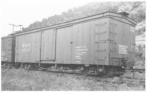 RGS box car #8512 in Hesperus yard.<br /> RGS  Hesperus, CO  Taken by Jackson, Richard B.