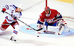 23 January 2010: New York Rangers' right wing forward Marian Gaborik is unable to beat Montreal Canadiens goaltender Jaroslav Halak during a game at the Bell Centre in Montreal, Quebec, Canada. The Canadiens shut out the Rangers 6-0. Mandatory Credit: Ed Wolfstein Photo
