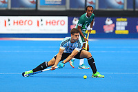 Gonzalo Peillat of Argentina makes a defensive clearance during the Hockey World League Quarter-Final match between Argentina and Pakistan at the Olympic Park, London, England on 22 June 2017. Photo by Steve McCarthy.