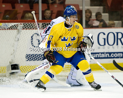 Anton Persson (Sweden 17) (Maxwell) - Team Sweden defeated Team USA White 7-3 on Friday, August 8, 2008, in the 1980 Rink during the 2008 US National Junior Evaluation Camp and Summer Hockey Challenge in Lake Placid, New York.