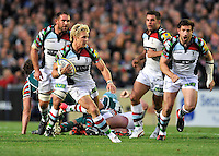 Leicester, England. Matt Hopper of Harlequins charges forward during the Aviva Premiership match between Leicester Tigers and Harlequins at Welford Road on September 22, 2012 in Leicester, England.