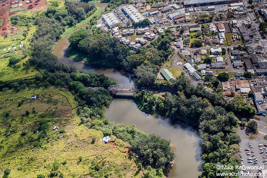 Aerial view of Kaukonahua Stream, Wahiawa, Oahu