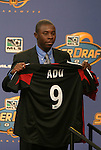 16 January 2004: Fourteen year old Freddy Adu was taken with the first overall pick in the draft by DC United. The Major League Soccer SuperDraft was held at the Charlotte Convention Center in Charlotte, NC as part of the annual National Soccer Coaches Association of America convention..