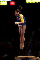 3/1/08 - Photo by John Cheng - Jessica Lopez of Venezuela performs on vault at the Tyson American Cup in Madison Square GardenPhoto by John Cheng - Tyson American Cup 2008 in Madison Square Garden, New York.Lopez