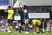 Blackburn Rovers' Derrick Williams is taken down by Ipswich Town's Ellis Harrison' and Ipswich Town's Ellis Harrison receives a yellow card <br /> <br /> Photographer Rachel Holborn/CameraSport<br /> <br /> The EFL Sky Bet Championship - Ipswich Town v Blackburn Rovers - Saturday 4th August 2018 - Portman Road - Ipswich<br /> <br /> World Copyright &copy; 2018 CameraSport. All rights reserved. 43 Linden Ave. Countesthorpe. Leicester. England. LE8 5PG - Tel: +44 (0) 116 277 4147 - admin@camerasport.com - www.camerasport.com