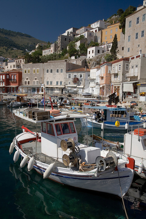 Hydra Town's maze of narrow, cobbled streets surround a superb natural harbor.