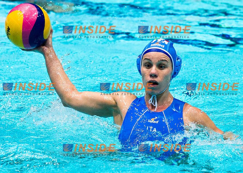 Eindhoven , Netherlands (NED) 18/1/2012.LEN European  Water Polo Championships 2012.Day 03 - Women.Greece (White) - Italia (Blue)..ITA.di MARIO Tania..Photo G.Scala/Deepbluemedia.eu