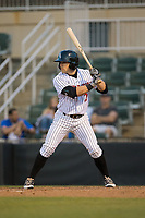 Tyler Sullivan (2) of the Kannapolis Intimidators at bat against the Lakewood BlueClaws at Kannapolis Intimidators Stadium on April 9, 2017 in Kannapolis, North Carolina.  The BlueClaws defeated the Intimidators 7-1.  (Brian Westerholt/Four Seam Images)