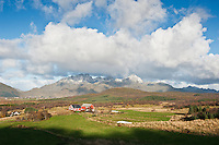 View over farmland and mountains, Vestvagoy, Lofoten islands, Norway