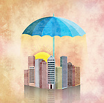 Illustrative image of umbrella covering buildings representing property insurance