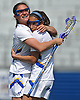 Carlee Ancona #5, left, and Alyssa Parrella #7 of Hofstra University celebrate after a goal in the second half of a CAA women's lacrosse game against Towson at Shuart Stadium in Hempstead, NY on Sunday, April 16, 2017. Hofstra won by a score of 17-15.