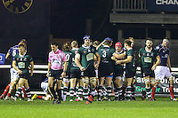Nottingham Rugby celebrate scoring a try during the Greene King IPA Championship match between London Scottish Football Club and Nottingham Rugby at Richmond Athletic Ground, Richmond, United Kingdom on 16 October 2015. Photo by David Horn.