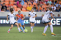Houston, TX - Saturday July 16, 2016: Emily Sonnett, Rachel Daly, Maureen Fitzgerald during a regular season National Women's Soccer League (NWSL) match between the Houston Dash and the Portland Thorns FC at BBVA Compass Stadium.
