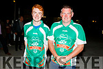 Ploughing champion Daniel Burke and Derek O'Driscoll as they arrive home in Causeway on Friday night.