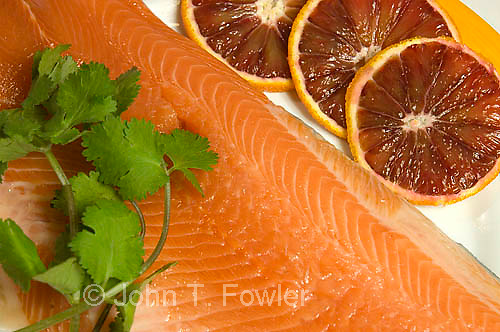 Heart healthy food, salmon, rainbow trout, fish