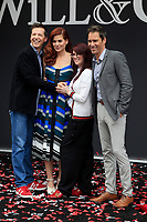 """LOS ANGELES - AUG 2:  Sean Hayes, Debra Messing, Megan Mullally, Eric McCormack at the """"Will & Grace"""" Start of Production Kick Off Event at the Universal Studios on August 2, 2017 in Universal City, CA"""