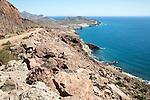 Coastal landscape Cabo de Gata natural  park, looking east towards San Jose, Almeria, Spain